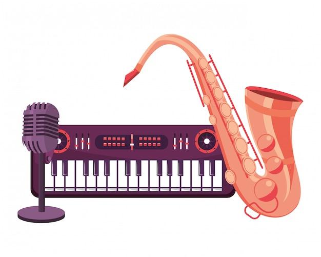 Saxophone et microphone