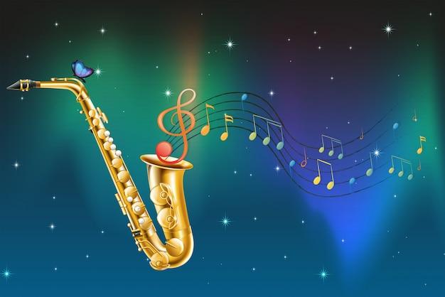 Un saxophone avec papillons et notes musicales