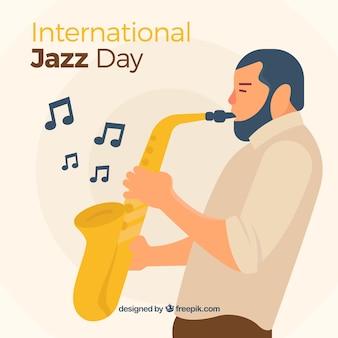Le saxophoniste de jazz du saxophoniste de fond