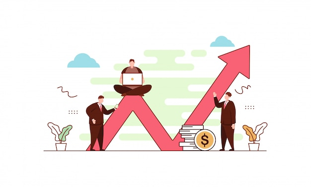 Scale up business dans un style plat