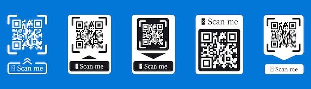 Scan De Code Qr Pour Smartphone. L'inscription Me Scanne Avec L'icône Du Smartphone. Code Qr Pour Le Paiement. L'inscription Me Scanne Avec L'icône Du Smartphone. Code Qr Pour Le Paiement. Scannez Le Code Qr. Collection De Vecteurs Vecteur Premium