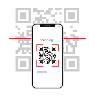 Scanner Le Code Qr Avec Le Code à Barres De La Technologie Numérique électronique Du Téléphone Portable Vecteur Premium