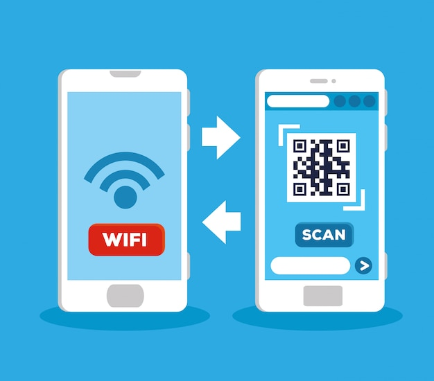 Scanner le code qr avec la conception d'illustration de smartphones