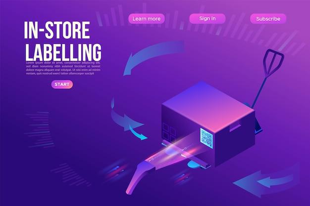 Le scanner de code qr lit l'étiquette sur la boîte, le modèle de page de destination, l'étiquette d'entrepôt sur un conteneur, la palette avec des marchandises, l'application mobile pour l'étiquetage du fret, l'emballage marqué, l'isométrique 3d