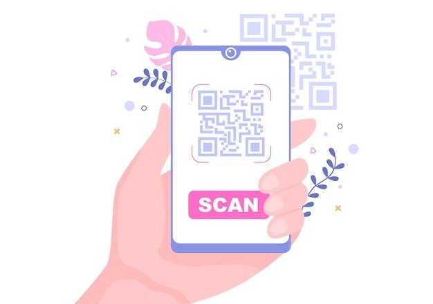 Scanner de code qr pour le paiement en ligne, le paiement électronique et le transfert d'argent sur smartphone avec application en main. illustration vectorielle de fond