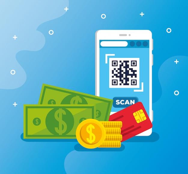 Scanner le code qr avec smartphone et icônes