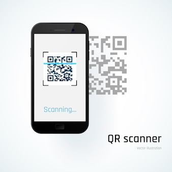 Scanner qr. mobile scanne le code qr. illustration