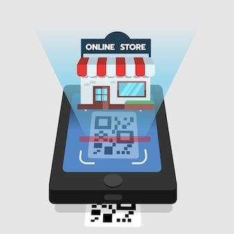 Scannez le code qr sur la boutique en ligne mobile