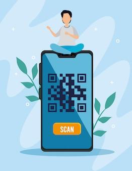 Scannez le code qr dans le smartphone avec l'homme