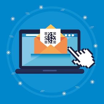 Scannez le code qr avec un ordinateur portable et des icônes