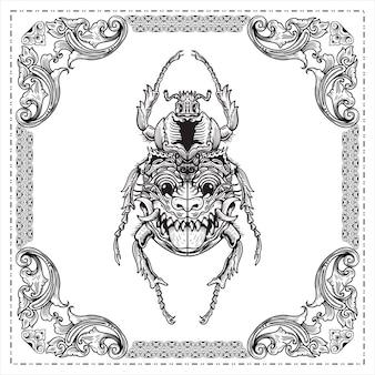 Scarabée gravure d'un scarabée avec un masque facial sur les ailes conception d'illustration dessinée à la main