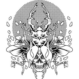Le scarabée kitsune japon silhouette