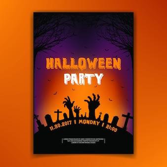 Scary halloween party party cimetière zombie mains vecteur de conception
