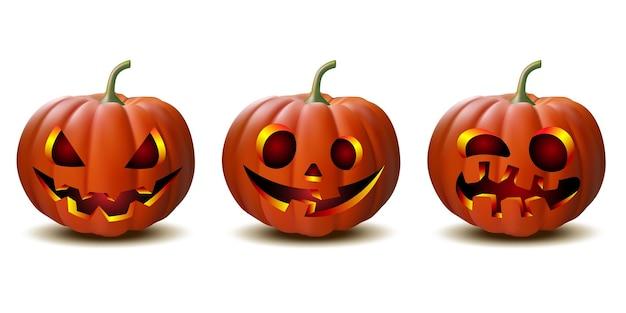 Scary jack o lantern citrouille d'halloween avec bougie à l'intérieur, ensemble de citrouilles d'halloween en vecteur avec différents visages pour les icônes et les décorations isolées sur fond blanc. illustration vectorielle.