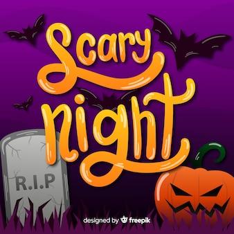 Scary night lettering dans un cimetière