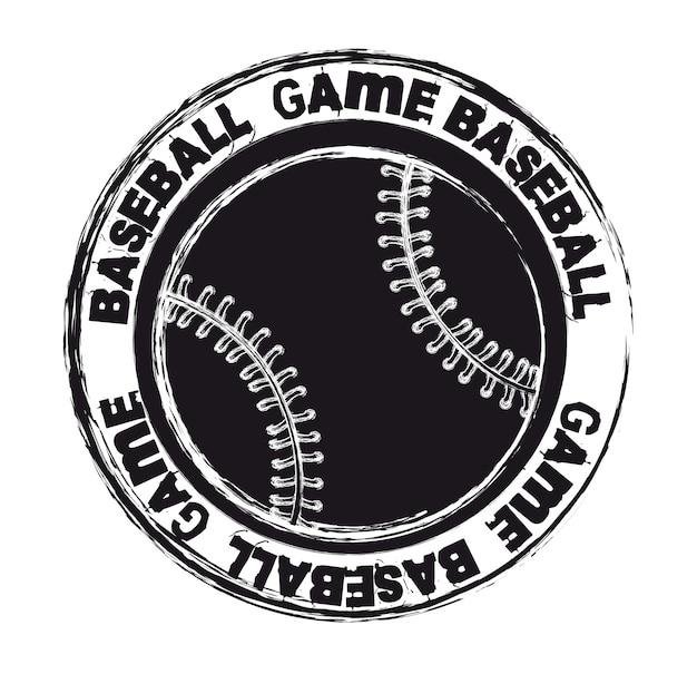 Sceau de baseball noir isolé