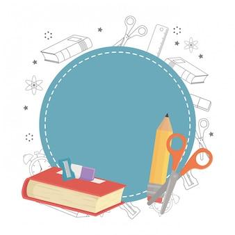 Sceau de cachet et conception de fournitures scolaires