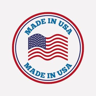 Sceau cachet avec usa drapeau icône sur fond blanc