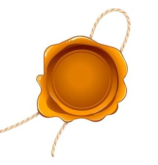 Sceau de cire d'or isolé sur fond blanc. timbre. étiquette dorée réaliste pour document lettre.