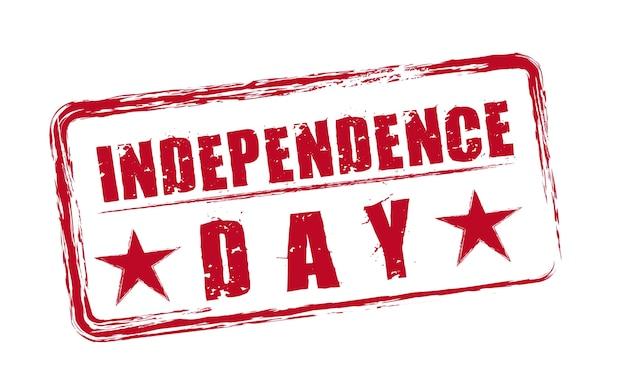 Sceau de la fête de l'indépendance rouge avec vecteur isolé étoiles
