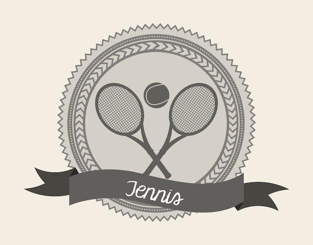 Sceau de tennis au cours de l'illustration vectorielle fond crème