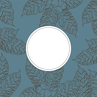 Sceau de timbre sur les feuilles de café avec des haricots design du temps boisson petit-déjeuner boutique de boissons