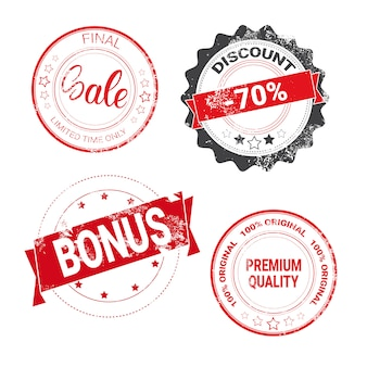 Sceaux vintage ronds mis shopping remises et vente autocollants collection de badges isolés