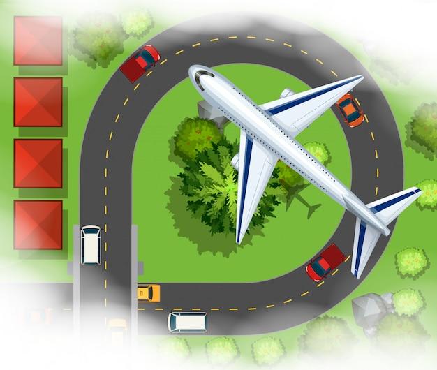 Scece aérienne avec avion volant dans le ciel