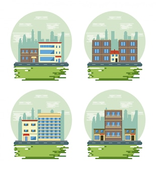 Scénarios de vue de paysage urbain de bâtiments urbains