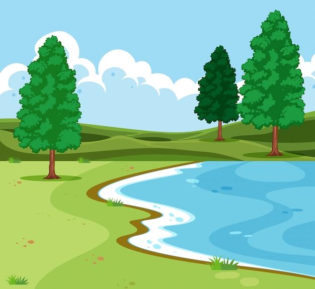 Scence du paysage du lac en plein air
