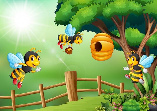Scène avec des abeilles volant autour de l'illustration de la ruche
