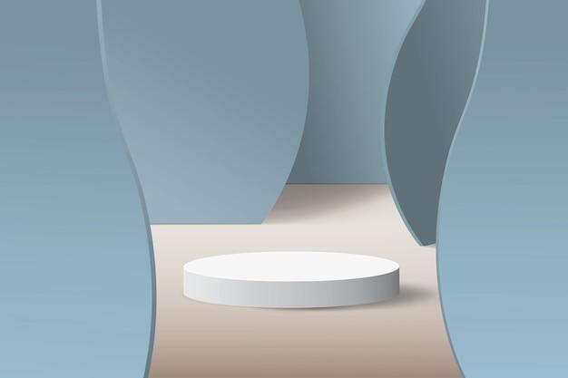 Scène abstraite minimaliste aux couleurs bleu pastel.