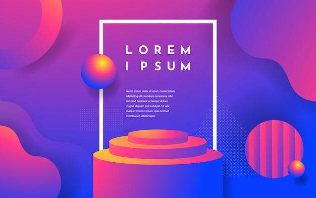 Scène abstraite réaliste 3d avec couleur podium, rose et violet avec des formes géométriques et fond liquide.
