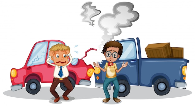 Scène d'accident avec accident de voiture