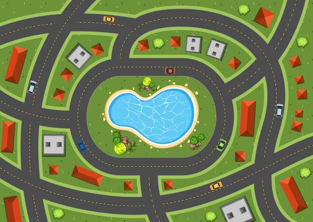 Scène aérienne avec routes et maisons