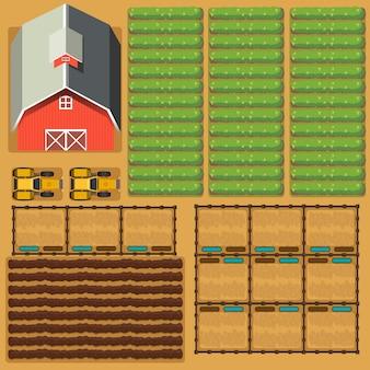 Scène aérienne de terres agricoles avec grange et cultures