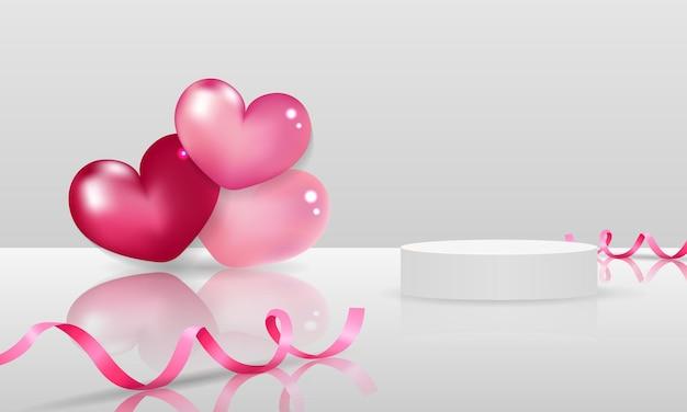 Scène d'affichage de la saint-valentin pour l'exposition de produits décorée de coeur