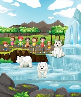 Scène avec des animaux et des enfants au zoo