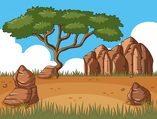 Scène avec un arbre dans le champ