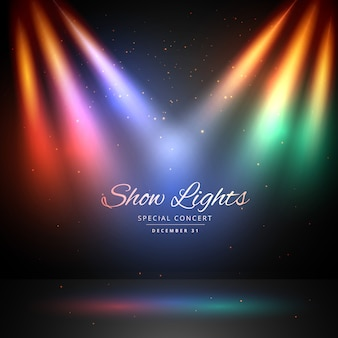 Scène avec fond de lumières colorées