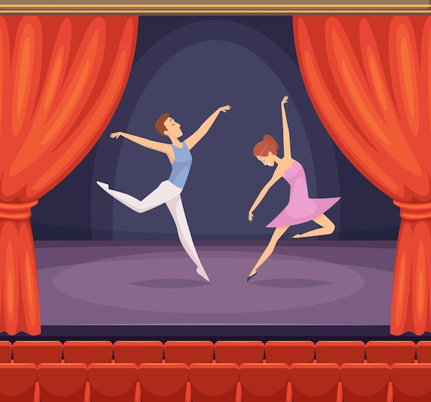 Scène de ballet. danseur masculin et féminin dansant sur scène vecteur beau fond avec des rideaux rouges dans le théâtre. scène avec ballet de danse, jeune fille et garçon à l'illustration du concert