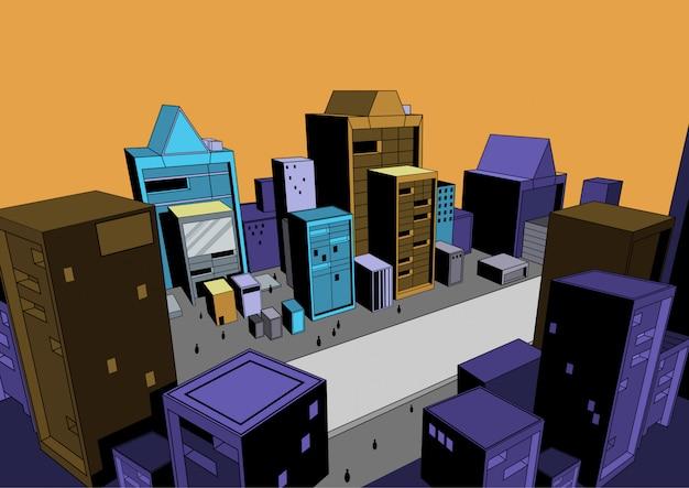 Scène de bande dessinée, fond de ville pour réaliser des illustrations dans la presse écrite ou sur un site web.