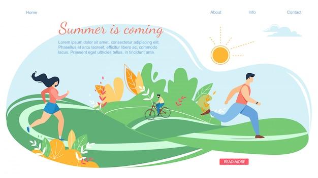 Scène de bannière horizontale à venir pour l'été avec des vacances en famille actives