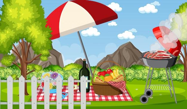 Scène avec barbecue et nourriture dans le parc