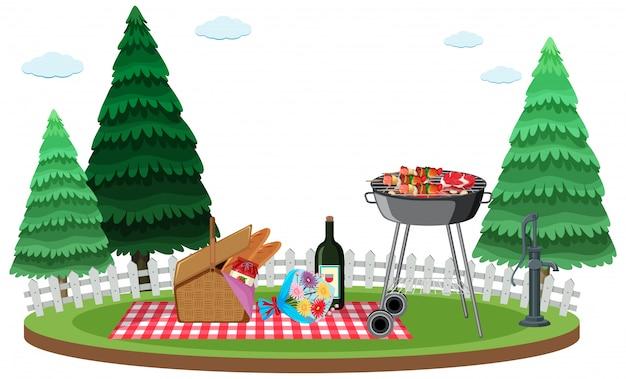 Scène avec barbecue et panier de nourriture dans le jardin