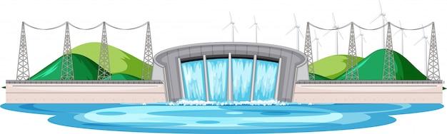 Scène avec barrage d'eau avec des éoliennes sur les collines