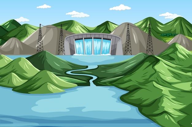 Scène avec barrage d'eau