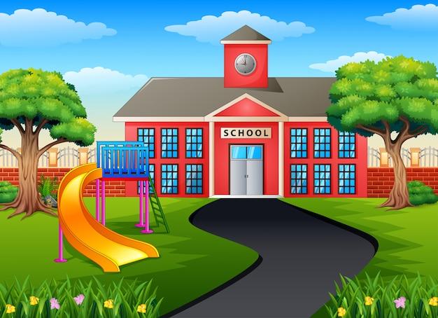 Scène avec bâtiment scolaire et terrain de jeu