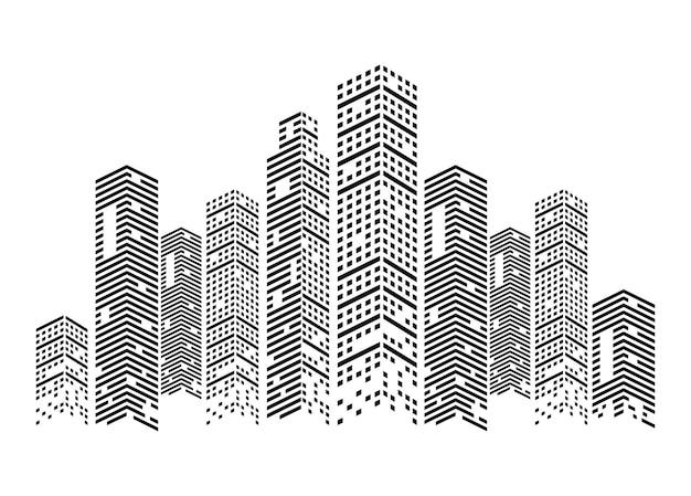 Scène de bâtiments monochromes
