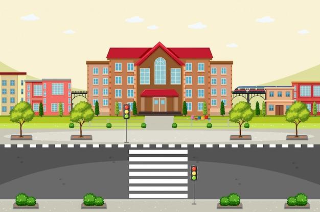 Scène avec bâtiments et route vide